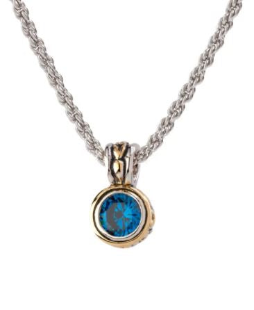 JOHN MEDEIROS Beijos Collection Round Bezel Set Sapphire Necklace