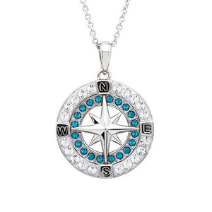 OCEAN BLUE & WHITE COMPASS NECKLACE