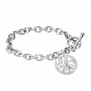 Classic Bordered Monogram Toggle Bracelet 20mm