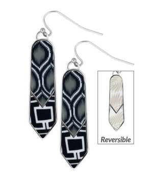 Jilzarah Black & White Double Arrow Reversible Earrings