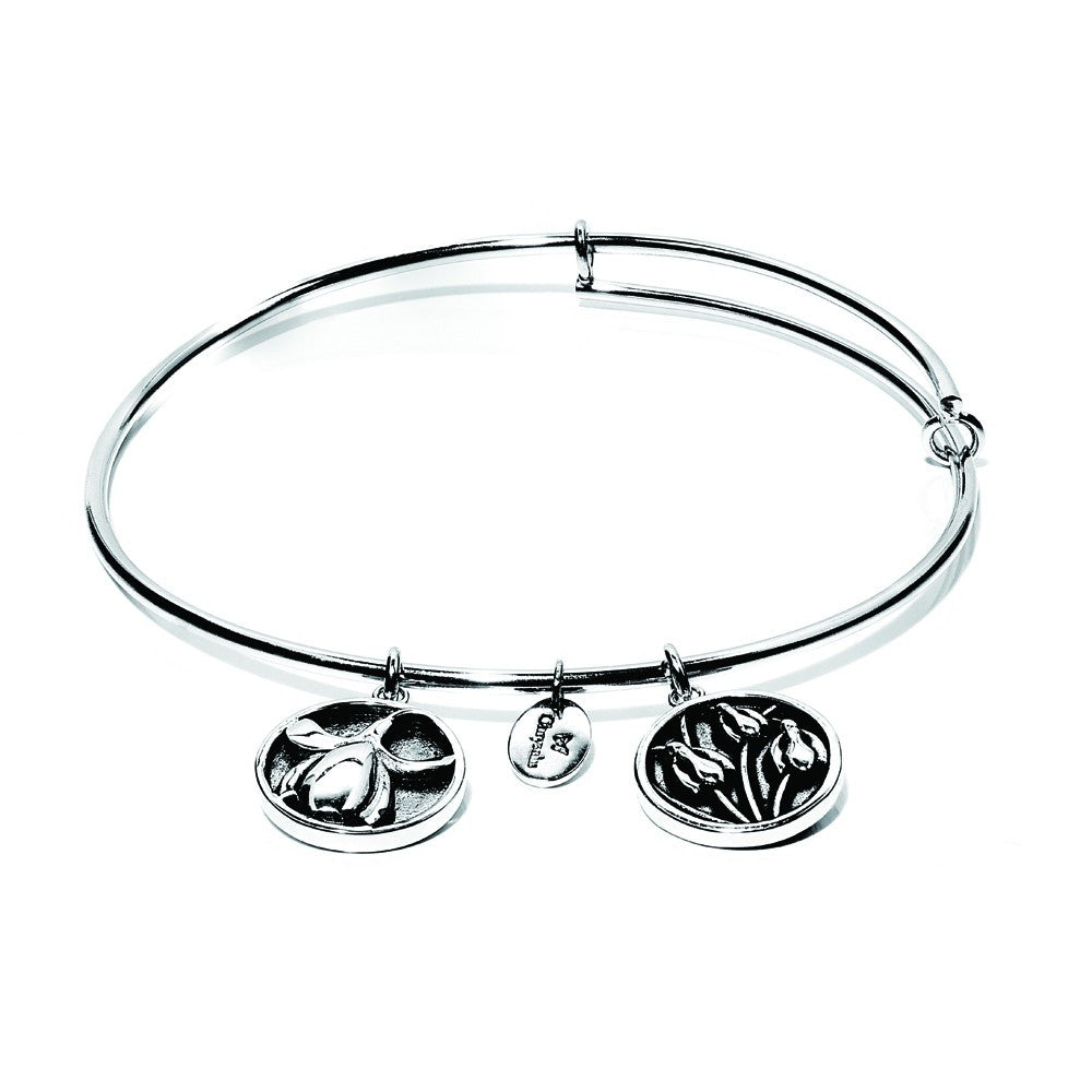 Snowdrop Expandable Bangle - Silver