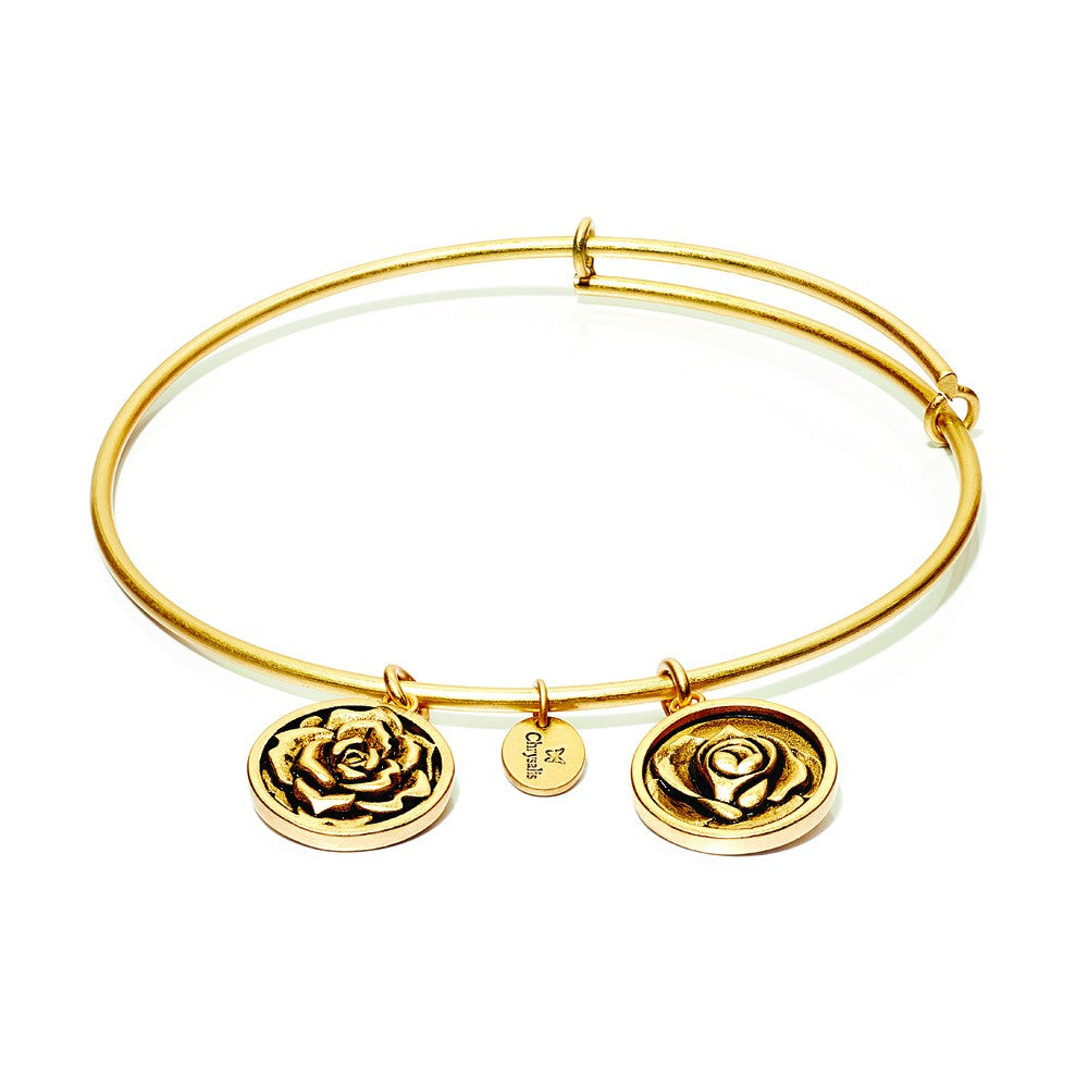 Rose Expandable Bangle - Gold