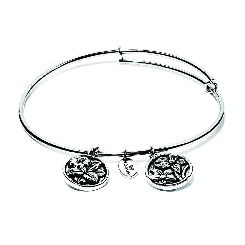Blue Narcissus Expandable Bangle - Silver