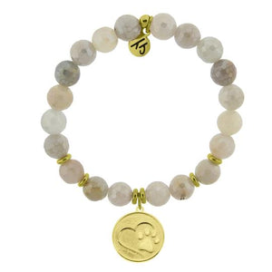 T. Jazelle Moonstone Stone Bracelet with Paw Print Gold Charm