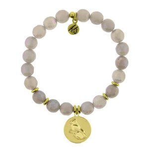 T. Jazelle Mystic Grey Agate Stone Bracelet with Cardinal Gold Charm