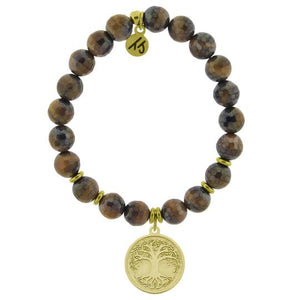 T. Jazelle Tiger's Eye Stone Bracelet with Tree of Life Gold Charm