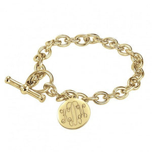 Traditional Monogram Disc Toggle Bracelet 16mm