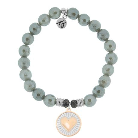 T. Jazelle Grey Agate Heart of Gold Bracelet