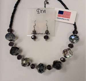 DEVI GREY CRYSTAL NECKLACE AND EARRING SET