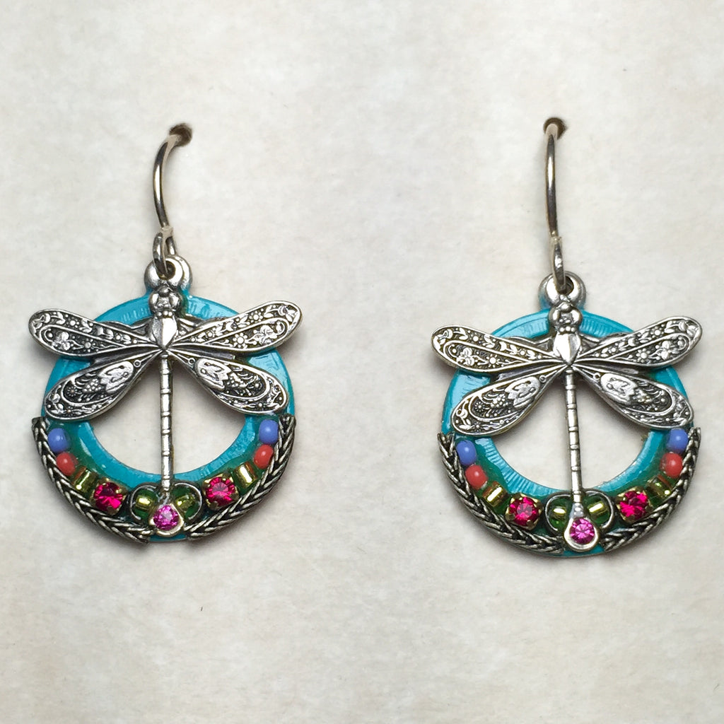 Firefly Round Dragonfly Earrings