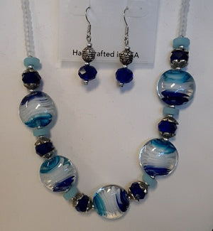 DEVI BLUE WAVE GLASS BEAD NECKLACE AND EARRING SET