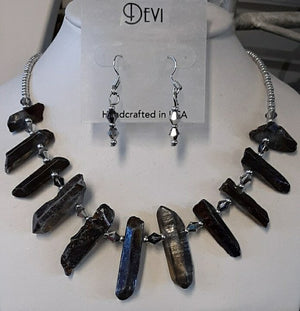 DEVI LABRADORITE NECKLACE AND EARRING SET