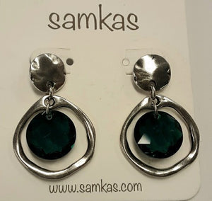 Samkas Emerald Green Crystal Earrings