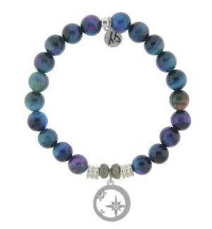 T. Jazelle Indigo Tiger's Eye Stone Bracelet with What is Meant to Be Sterling Silver Charm