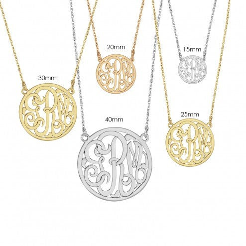 15mm Classic Halo Monogram Necklace