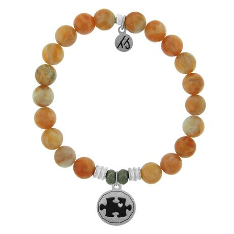 T. Jazelle Orange Calcite Autism Awareness Bracelet