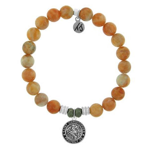 T. Jazelle Orange Calcite Saint Christopher Bracelet