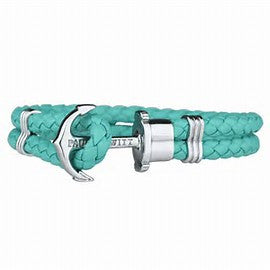PAUL HEWITT Leather PHREP Silver Anchor Bracelet Turquoise