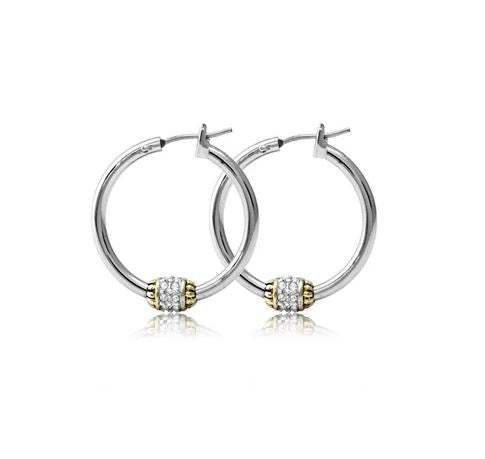 JOHN MEDEIROS PAVE BEADED HOOP EARRINGS