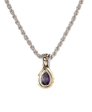 JOHN MEDEIROS Beijos Collection Pear Amethyst Bezel Set Solitaire Necklace