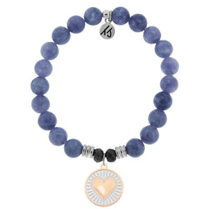 T. Jazelle Purple Jade Heart of Gold Bracelet
