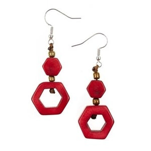 Tagua Tania Earrings Red