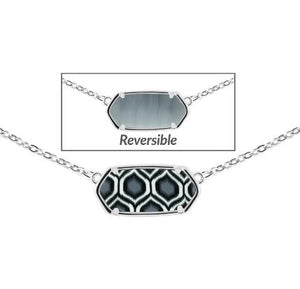 Jilzarah Black & White Reversible Hexagon Necklace