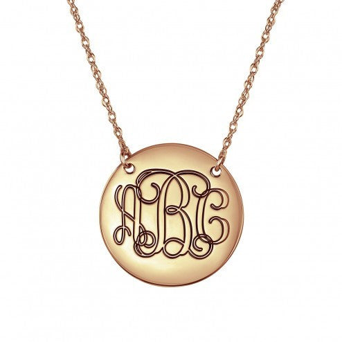 Outline Traditional Monogram Necklace 25mm
