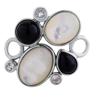 Le Stage Clasp, Pebbles Mother of Pearl and Black Agate