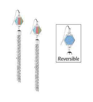 Jilzarah Salt Water Taffy Hexagon Reversible Tassel Earrings