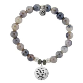 T. Jazelle Storm Agate Stone Bracelet with Birthday Wishes Sterling Silver Charm