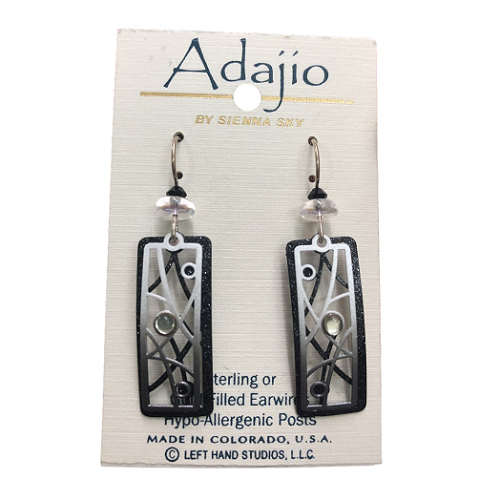 Adajio Black and White Glitter Window Earrings