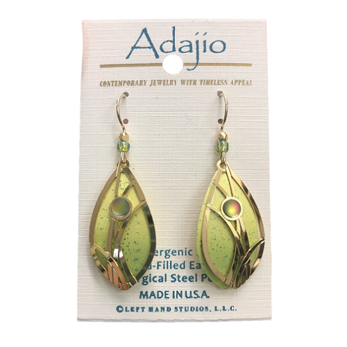 Adajio Green Gold Leaf Earrings