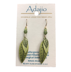 Adajio Green Layered Leaves Earrings