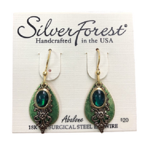 Silver Forest Golden Green Abalone Earrings