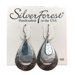 Silver Forest Steel Drum Loop Earrings