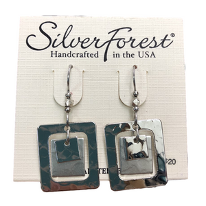 Silver Forest Modern Silver Squares Earrings