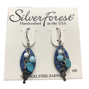 Silver Forest Ocean Seahorse Earrings