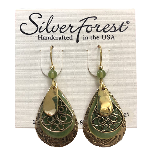 Silver Forest Golden Layered Loop Earrings