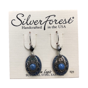 Silver Forest Denim Lapis Flower Earrings