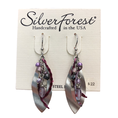 Silver Forest Magenta Jellyfish Earrings