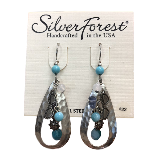 Silver Forest Blue Sunglasses Charm Earrings