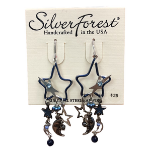 Silver Forest Silver Stars and Moon Earrings