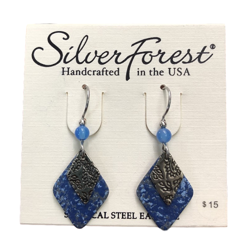 Silver Forest Blue Layered Diamonds Earrings