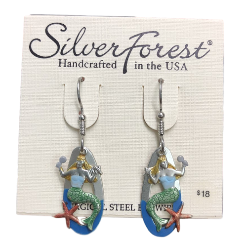 Silver Forest Primping Mermaid Earrings