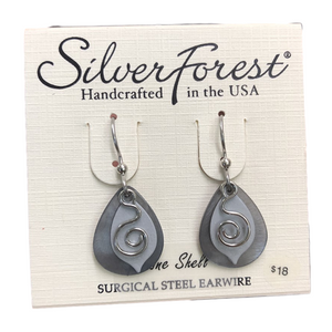 Silver Forest Genuine Shell Swirly Leaf Earrings