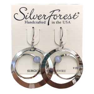 Silver Forest Agate Planet Loop Earrings