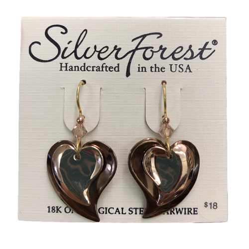 Silver Forest Bronze Layered Heart Earrings