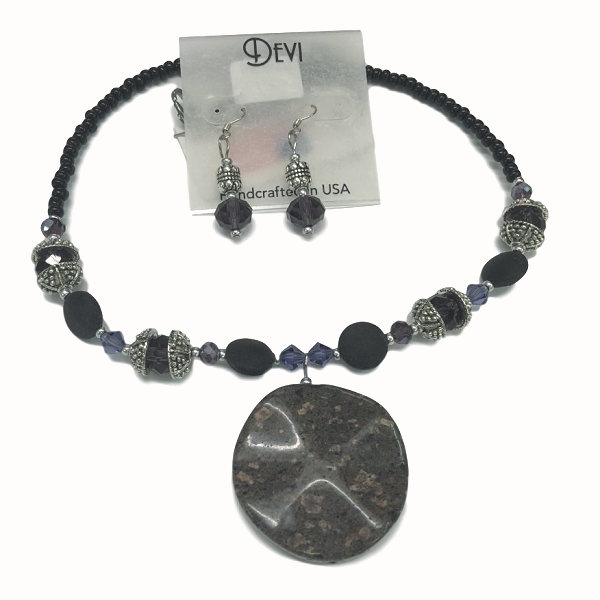 Devi Purple Stone Pendant Necklace and Earring Set