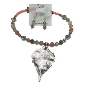 Devi Coral Pink Metal Leaf Necklace and Earring Set